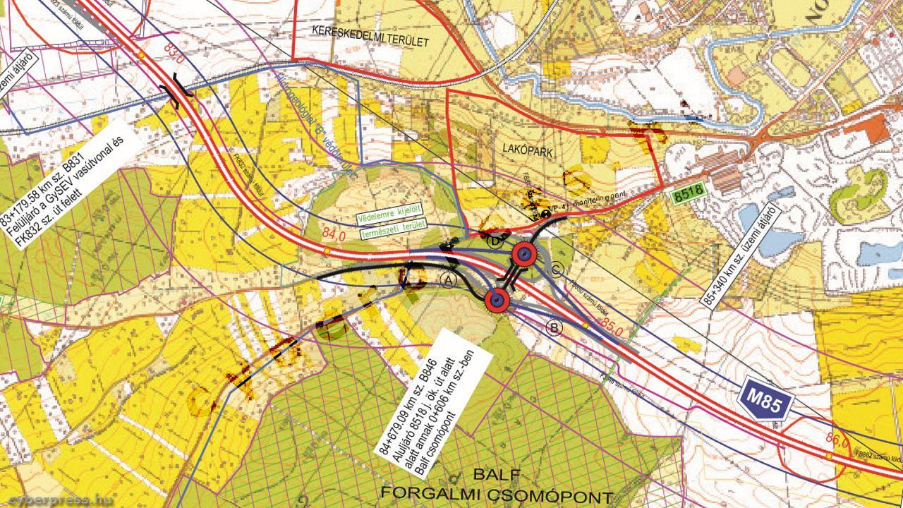 soproni elkerülő út nyomvonal térkép Mutatjuk az M85 ös soproni szakaszának nyomvonalát | Cyberpress